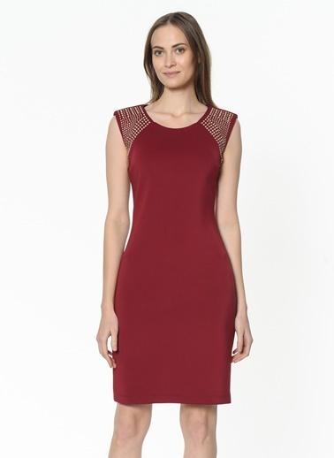 Ekol Ekol 3422553 Sıfır Kol Yuvarlak Yaka Diz Boy Kol Işleme Detaylı Şarap Kadın Elbise Bordo
